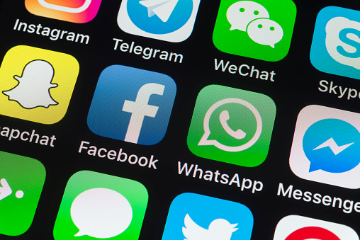 Facebook Whatsapp Messenger And Other Phone Apps On Iphone Screen Stock  Photo - Download Image Now
