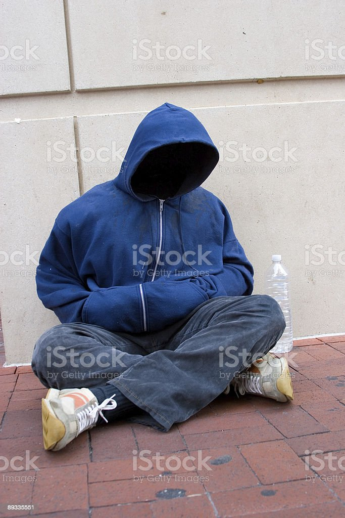 Faceless and Homeless royalty-free stock photo