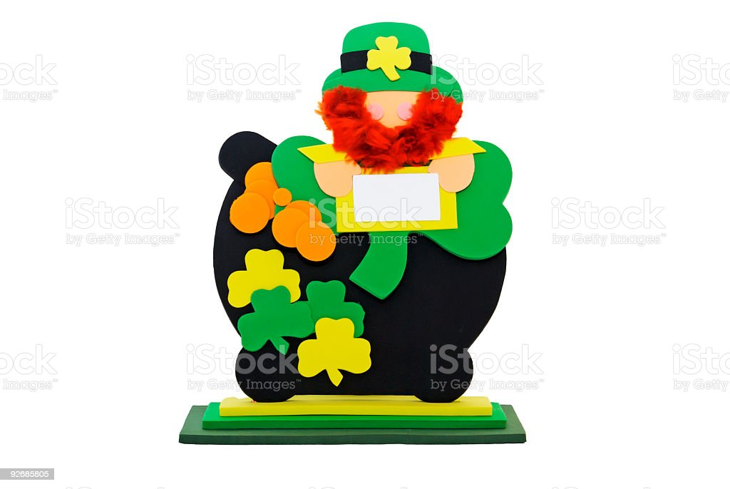 faceless foam Irish leprechaun with a pot of gold isolated royalty-free stock photo