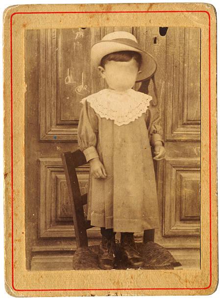faceless little boy in dress - 40's stock photo