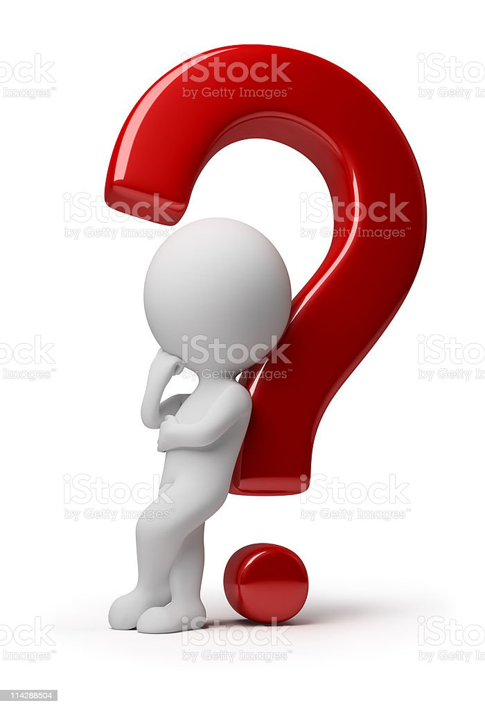 3D faceless man leaning on a red giant question mark stock photo