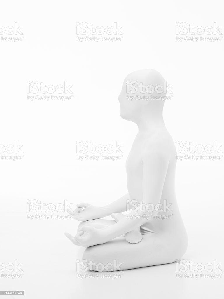 faceless man yoga lotus side view stock photo