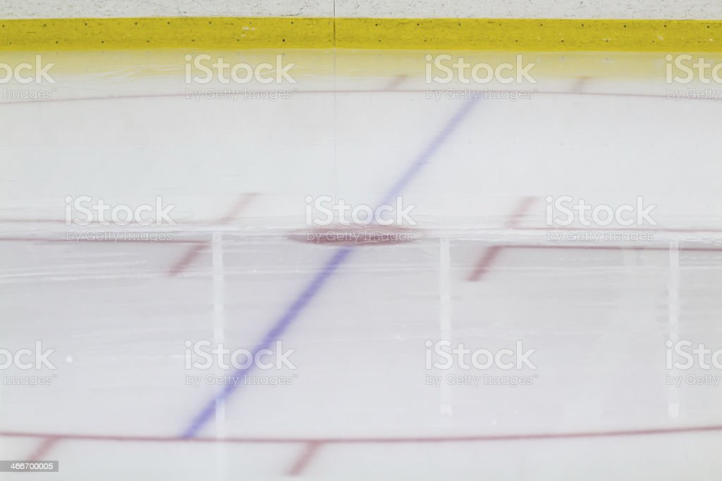 Face-off circle at an ice hockey arena stock photo