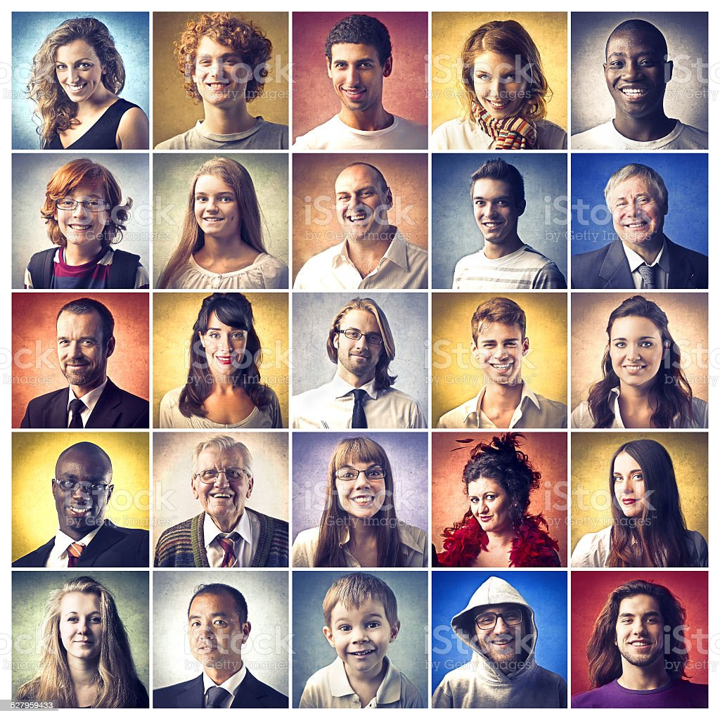 Faces and colours stock photo