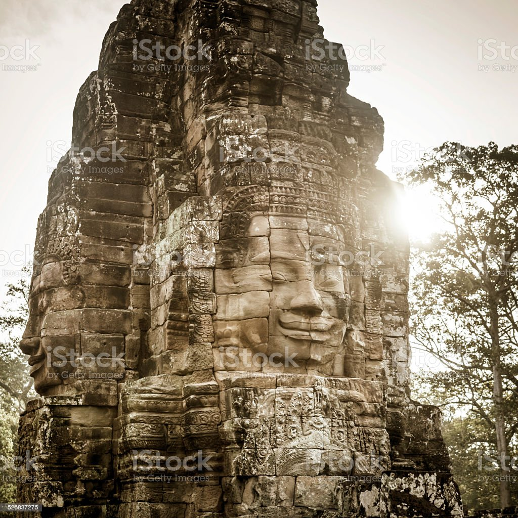 Faces of Bayon in Angkor Wat, Cambodia stock photo