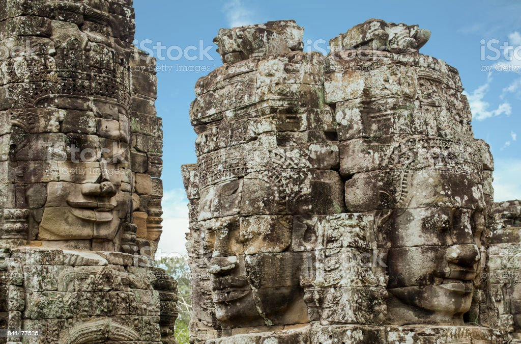 Faces of Bayon temple in Angkor Thom, Siemreap, Cambodia. stock photo