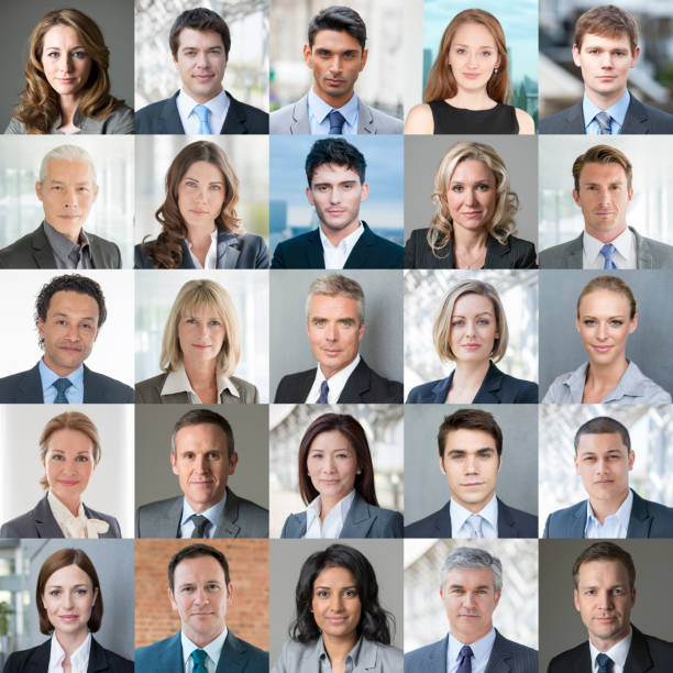 faces of business - confident colour image - head stock photos and pictures