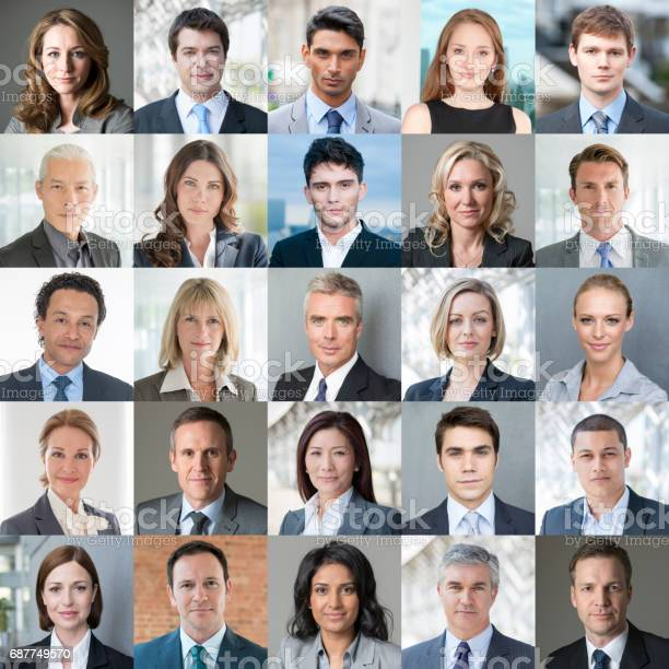 Collage of headshot portraits of 25 different business people. Close up faces of businessmen and businesswomen. Colour image.