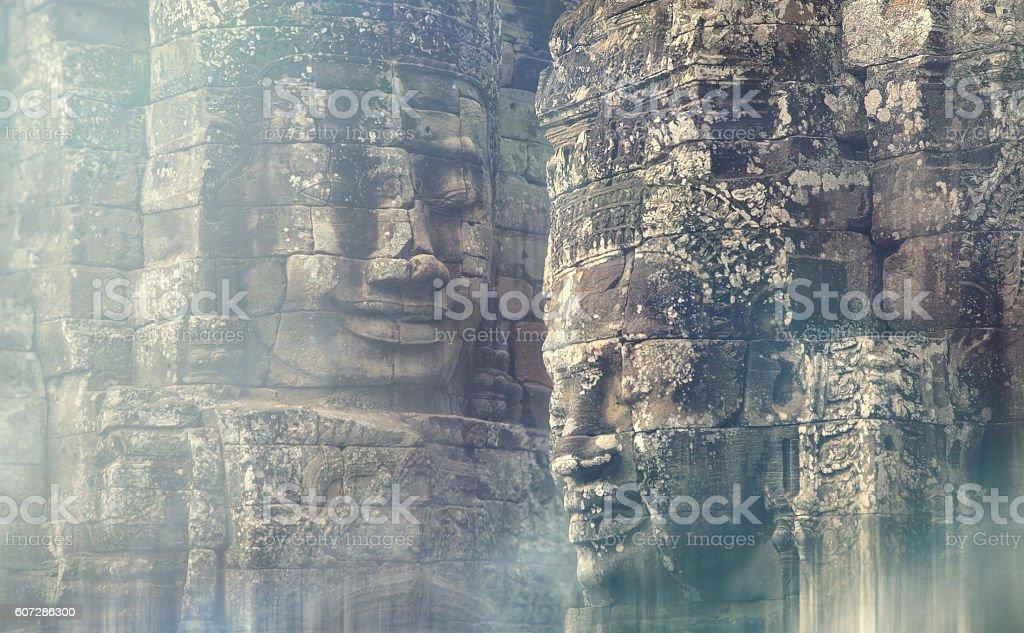 Faces of the Bayon temple, Cambodia stock photo
