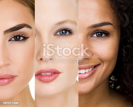 A close-up photograph of three racially diverse, beautiful young women's faces.  The image is divided into thirds, with each showing a part of a woman's face.  Each woman is wearing glossy pink lipstick and other makeup.  Where visible, the background behind the women is a crisp white.  The left side of the photo shows a Latina woman's face.  She is not smiling.  In the middle, a Caucasian woman parts her lips slightly, showing her teeth.  On the right side of the image, a light-skinned African American woman smiles, showing her white teeth.