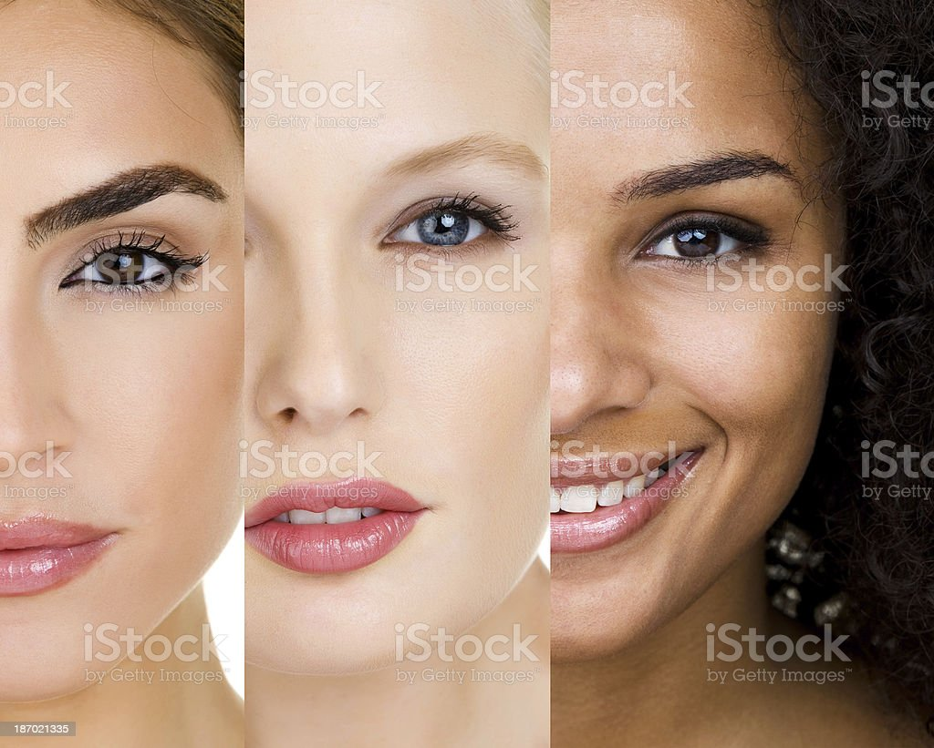 Faces of three women with different skin types stock photo