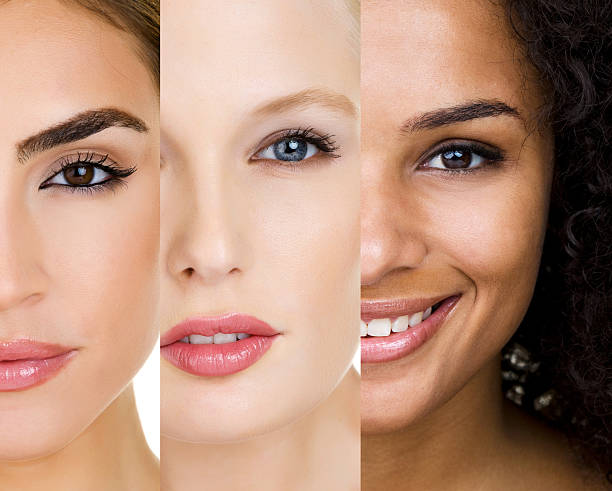 faces of three women with different skin types - three people stock photos and pictures