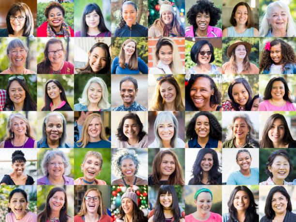 Small tiles of faces of many women