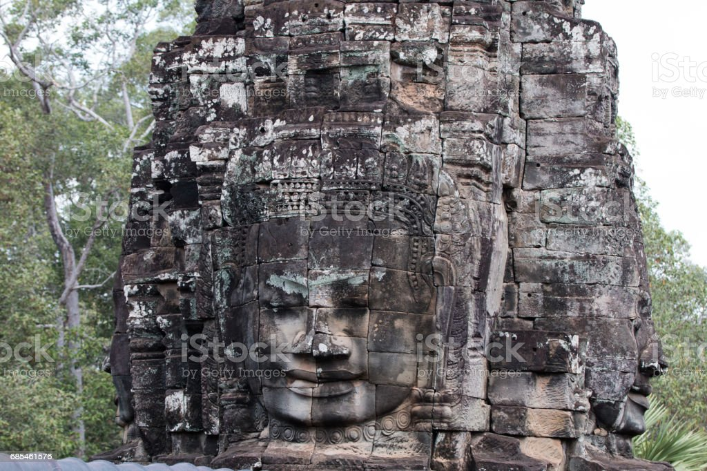 Faces on the towers of Bayon temple foto de stock royalty-free
