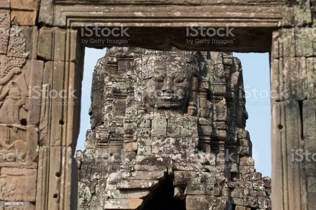 Faces on towers at Bayon temple foto de stock royalty-free