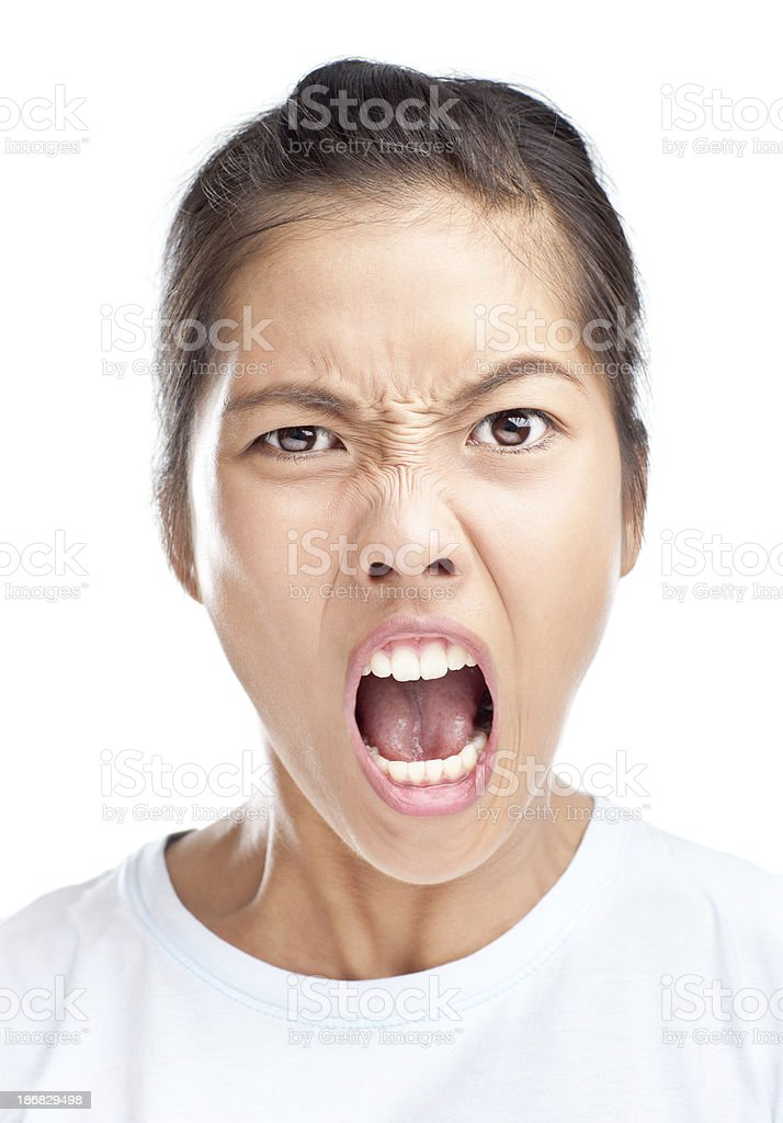 Faces: Yelling stock photo