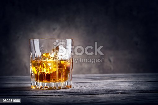istock Faceted glass of whiskey with ice 930581966