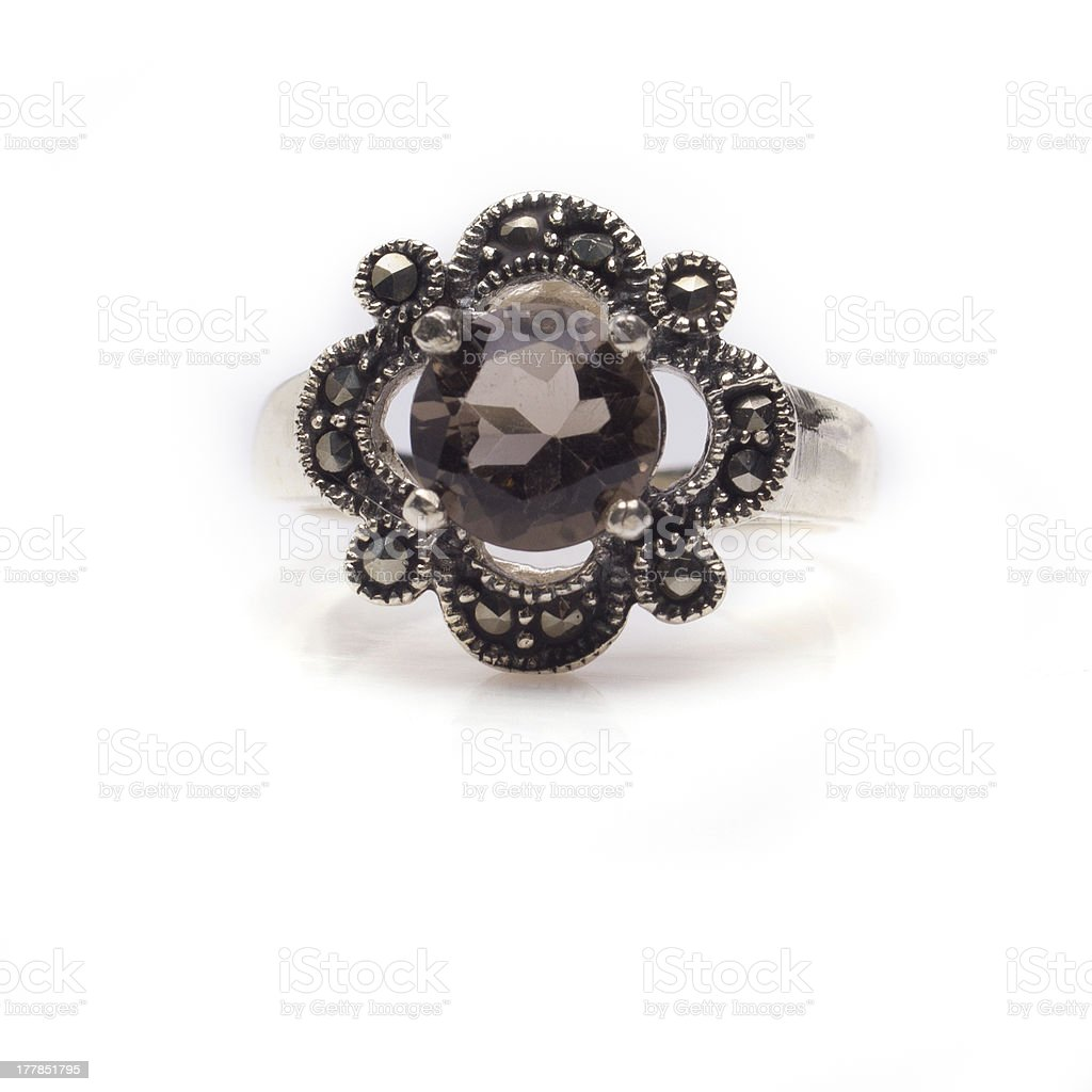 Faceted Smokey Quartz Ring royalty-free stock photo