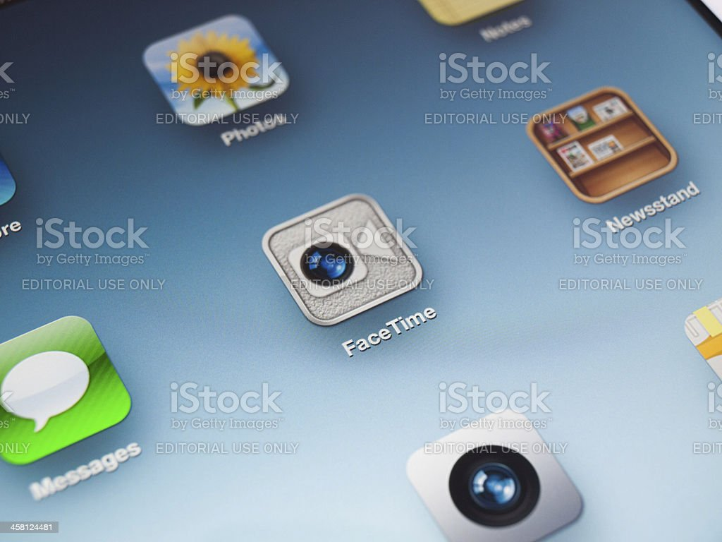 FaceTime video chat app icon on new iPad royalty-free stock photo