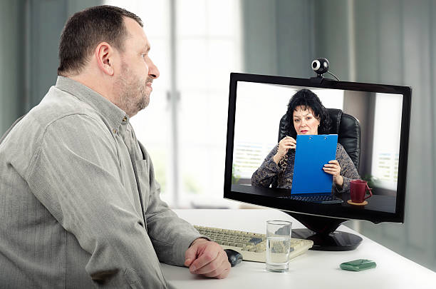 Face-to-face online psychotherapy session stock photo