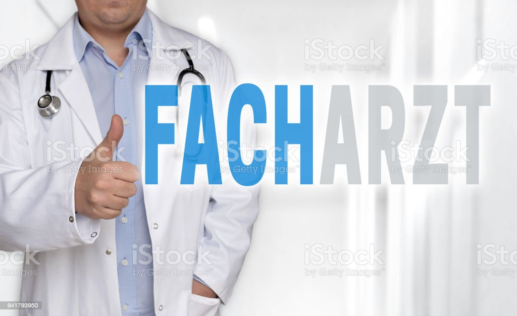 Facharzt (in german Specialist) concept and doctor with thumbs up stock photo