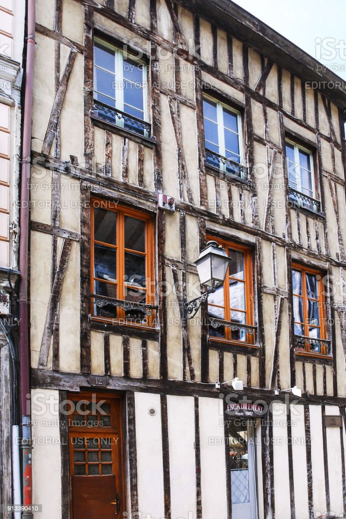fachwerk house on street Rue Mole in Troyes stock photo