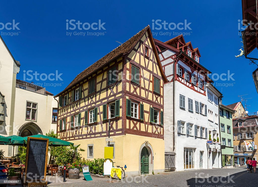 Fachwerk houses in the city center of Konstanz, Germany stock photo