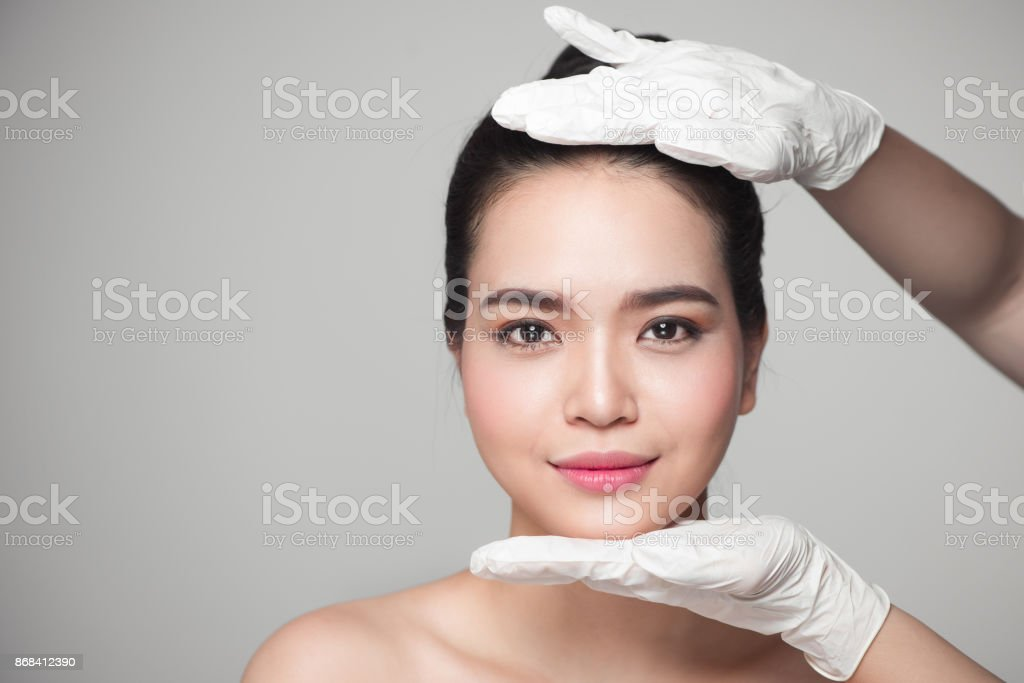 Facial beauty. Beautiful Woman before Plastic Surgery Operation Cosmetology. stock photo