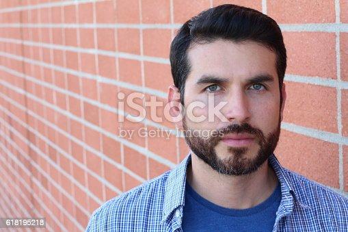 istock Facial close up of attractive man 618195218