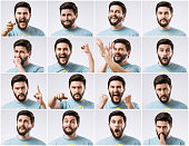 Emotions faces pack of young handsome bearded man. Emotions palette