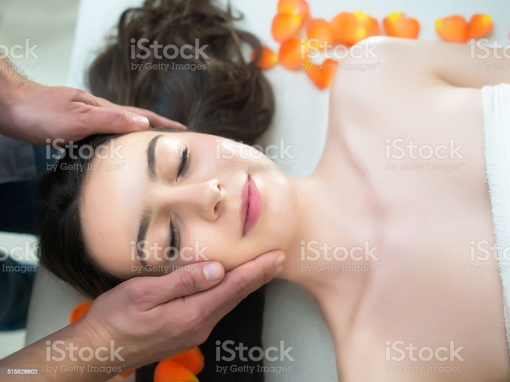 Facial energy massage stock photo