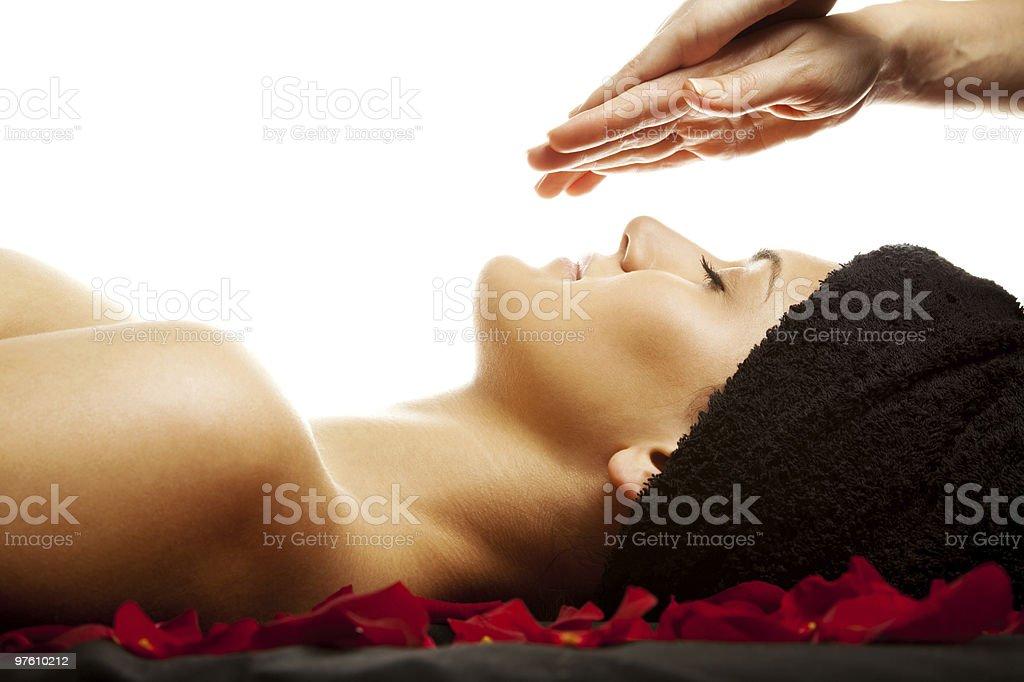 massage énergétique du visage photo libre de droits
