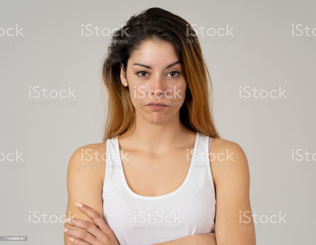 Facial expressions, emotions Anger. Young attractive caucasian woman...
