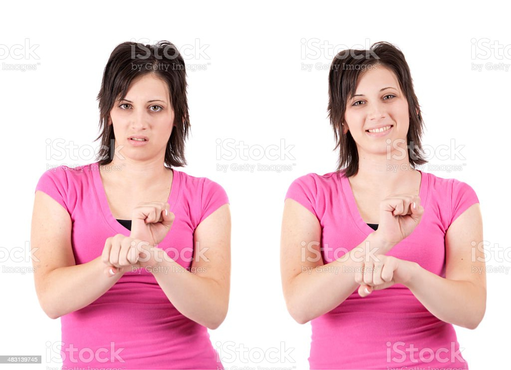 Facial Expressions in Sign language royalty-free stock photo