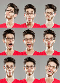 Multiple image of young man with variety of facial expressions. Studio shot on grey background.