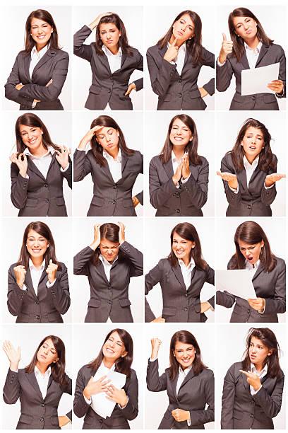 expressions du visage de la belle jeune femme d'affaires - image multiple photos et images de collection