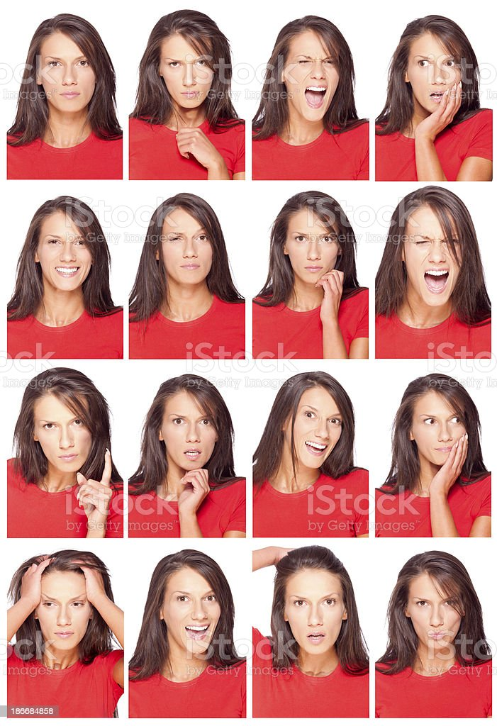 Facial expressions of a beautiful young woman royalty-free stock photo