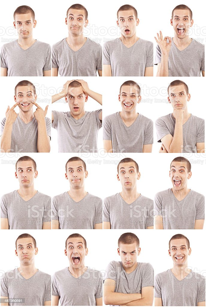 Facial expressions of a young man royalty-free stock photo