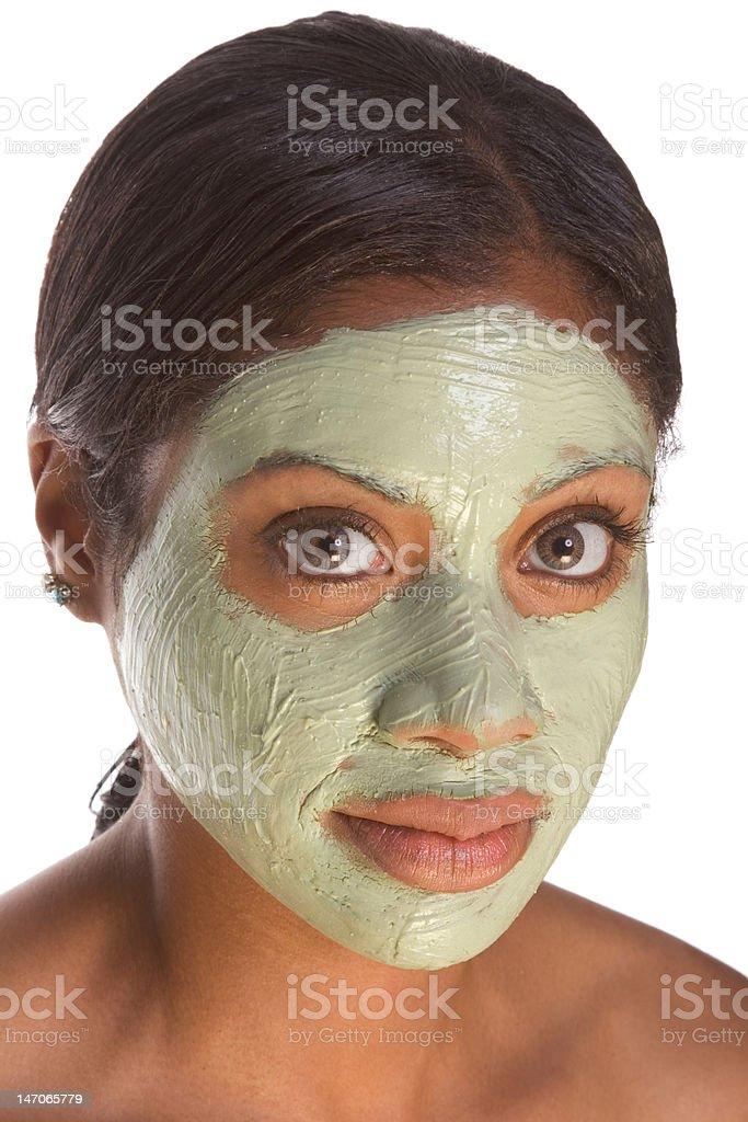 Facial mask on black girl royalty-free stock photo