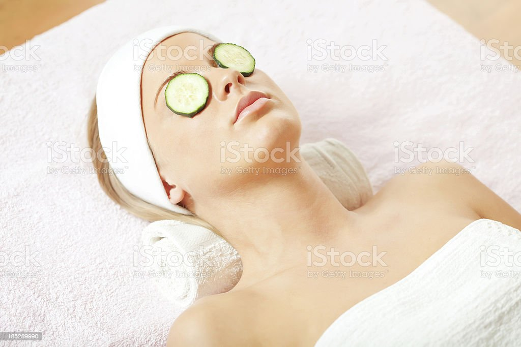 Facial mask treatment royalty-free stock photo