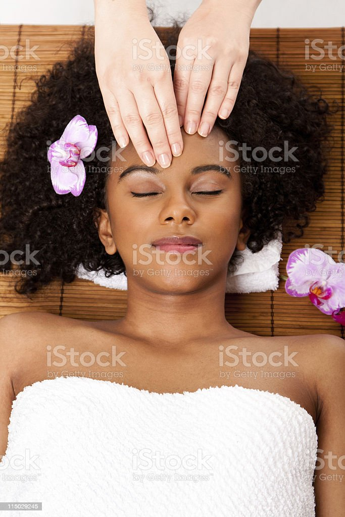Facial massage in beauty spa royalty-free stock photo