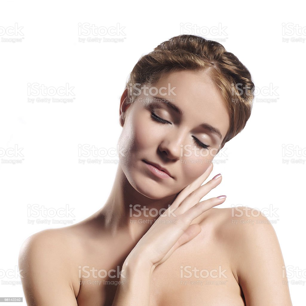 facial massage isolated on white royalty-free stock photo