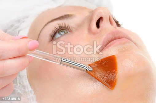 beauty salon, facial peeling mask with retinol and fruit acids