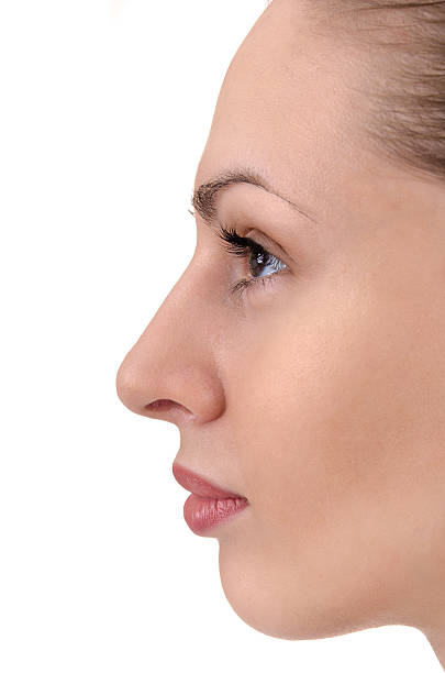 facial profile of young woman facial profile of young woman close up human nose stock pictures, royalty-free photos & images