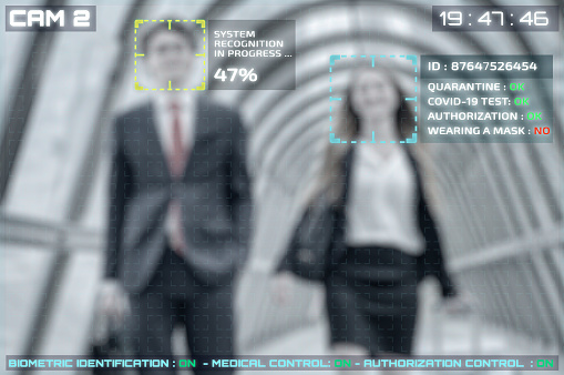 cctv facial recognition simulation of people with covid-19 test verification