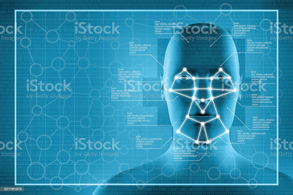 Facial recognition surveillance system stock photo