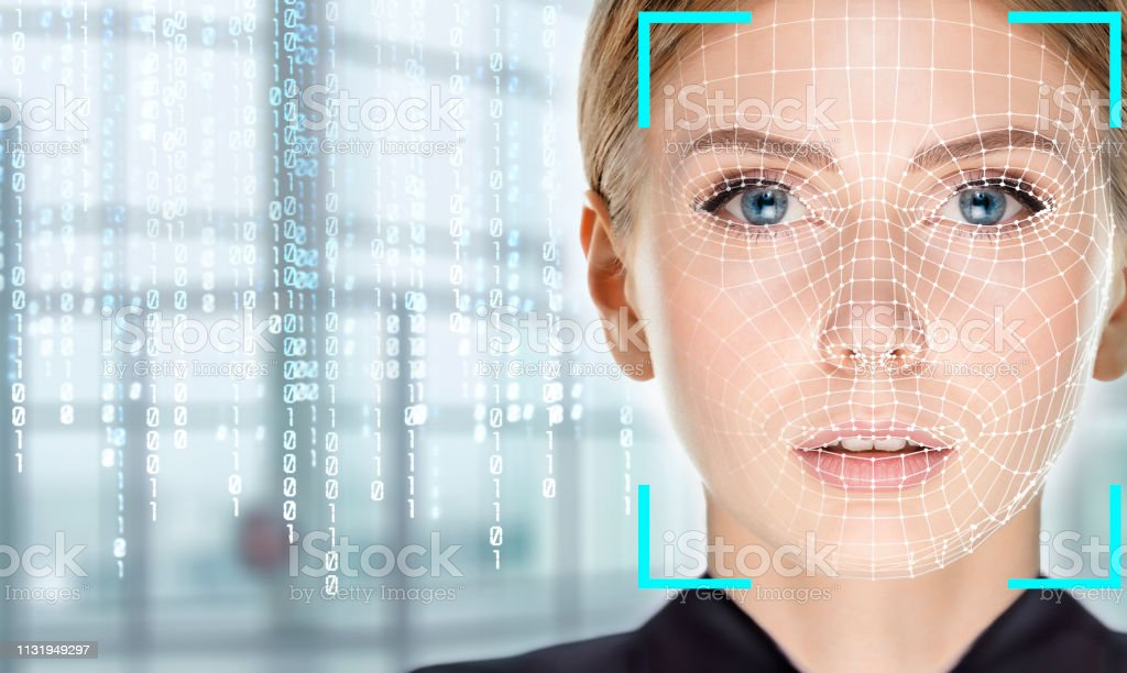 Facial Recognition System concept - Foto stock royalty-free di Adulto