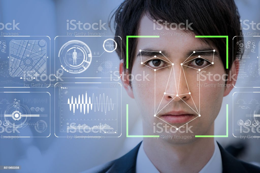 Facial Recognition System concept. - Foto stock royalty-free di Adulto