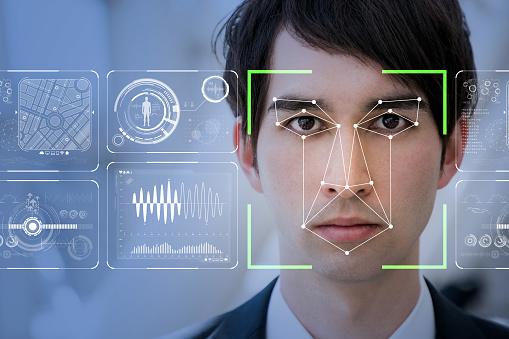 Facial Recognition System Concept - Fotografie stock e altre immagini di Adulto