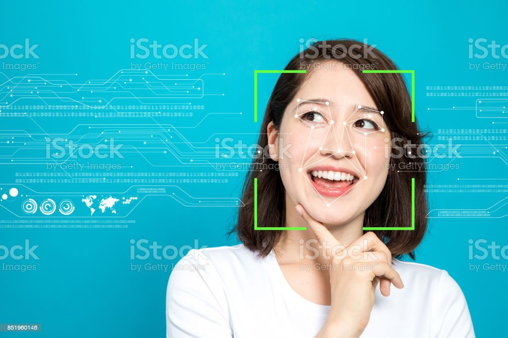 Facial Recognition System concept. stock photo